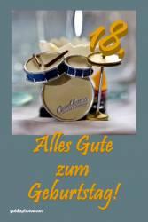 18. Geburtstag - Karte - Schlagzeug