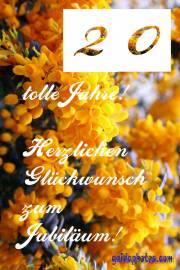 20. Geburtstag Blüte, gelb
