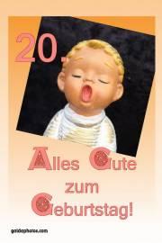 Karte zum 20. Geburtstag Engel singt