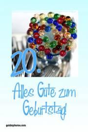 Karte zum 20. Geburtstag bunte Glaskugeln