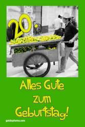 Karte zum 20. Geburtstag Zitrone
