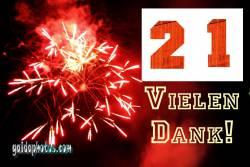 21. Geburtstag Danksagung Feuerwerk