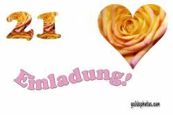 Geburtstagseinladung 21. Geburtstag Herz, Liebe, Valentinstag