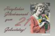 21. Geburtstag  Frau Blumenstrauß Antik