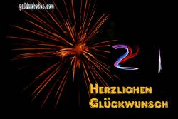 Karte 21. Geburtstag Feuerwerk