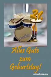 21. Geburtstag Karte Schlagzeug
