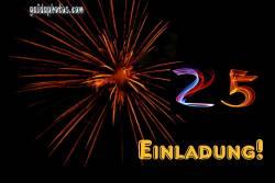 Einladung 25. Geburtstag Feuerwerk
