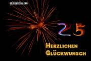 25. Geburtstag: Geburtstagskarten Feuerwerk