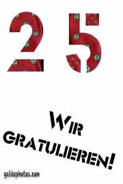 25. Geburtstag: Geburtstagskarten