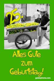 Karte 25. Geburtstag Zitrone