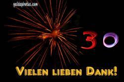 30 Geburtstag: Dankeskarten Feuerwerk