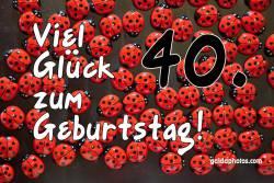 Karte 40. Geburtstag Marienkäfer