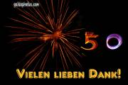 50 Geburtstag: Danksagungskarten Feuerwerk