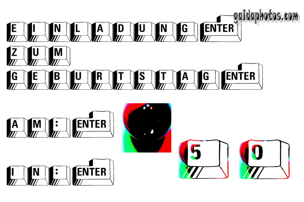 50 Geburtstag: Einladungskarten Tastatur