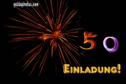 50 Geburtstag: Einladungskarten Feuerwerk