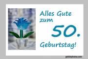 Karte 50. Geburtstag Blume türkis