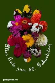 Karte 50. Geburtstag Blumenstrauß