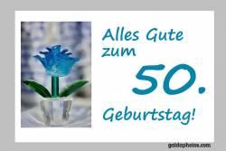 50. Geburtstag Blume türkis