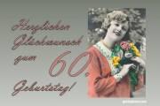 60 Frau Blumenstrauß Antik