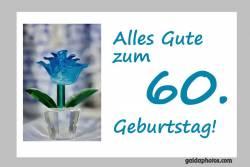 60. Geburtstagskarte Blume türkis