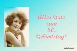 Karte 60. Geburtstag Frau Antik