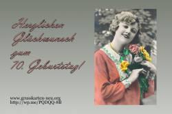 70. Geburtstag Frau mit Blumen