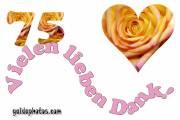 75 Geburtstag Danksagung Herz, Liebe, Valentinstag