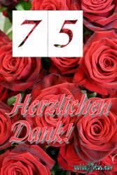 75 Geburtstag Danksagung rote Rosen