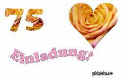 75 Geburtstag Einladung Herz, Liebe, Valentinstag