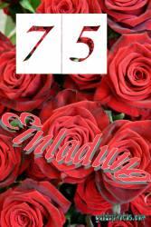 75 Geburtstag Einladung rote Rosen