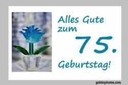 Karte 70. Geburtstag Blume türkis