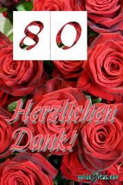 Dankeskarten zum 80.Geburtstag rote Rosen