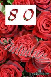 Geburtstagseinladung zum 80. rote Rosen