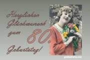 80. Geburtstag Frau Blumenstrauß Antik