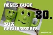 80. Geburtstag grüne Tasse