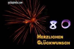 Glückwünsche zum 80. Geburtstag  Feuerwerk