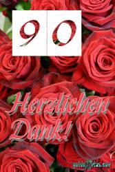 90. Geburtstag Danksagung rote Rosen