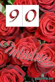 90. Geburtstag: Geburtstagseinladungen  rote Rosen