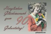 90. Geburtstagskarte Frau Blumenstrauß Antik