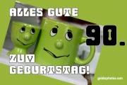 90. Geburtstagskarte Augenrollen