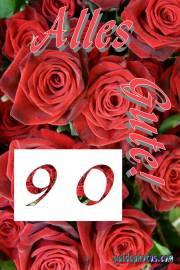 90. Geburtstag rote Rosen