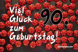 90. Geburtstagskarte Marienkäfer