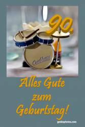 90. Geburtstagskarte Schlagzeug